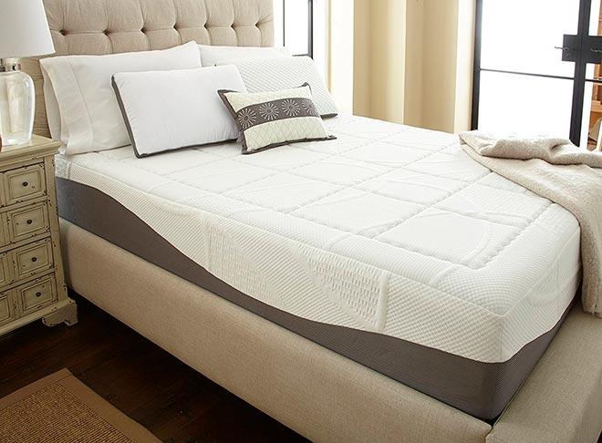 Матрас на кровати в красиво меблированной комнате