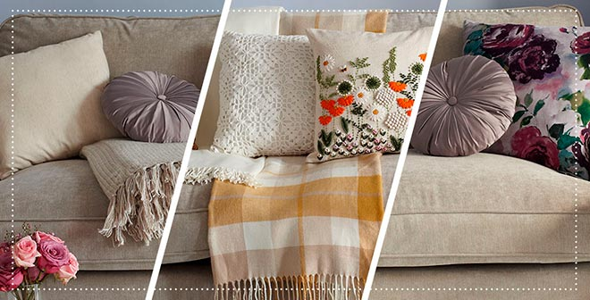 Фотографии с подушками из ткани разной текстуры