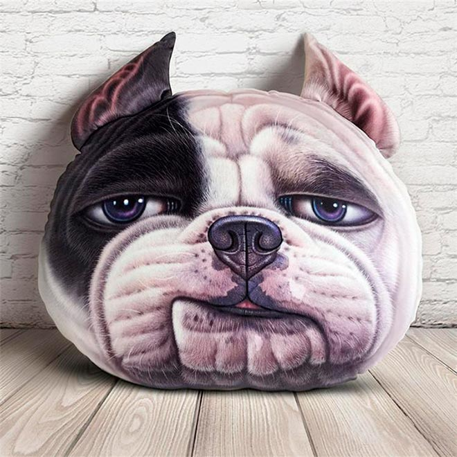 Подушка в виде головы собаки