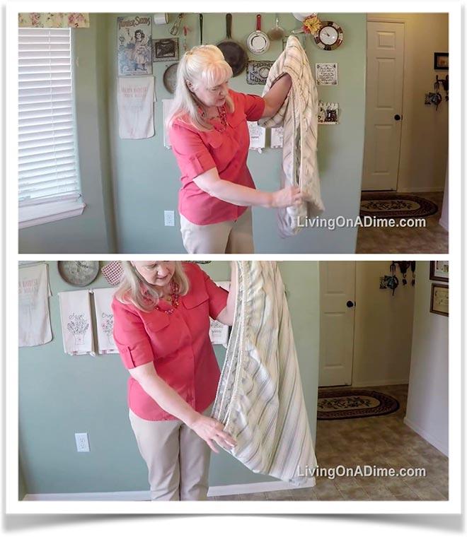 Первый способ как сложить простынь на резинке 6