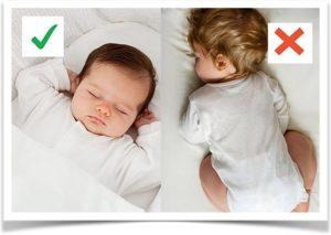 Правильное и неправильное положение ребенка во сне