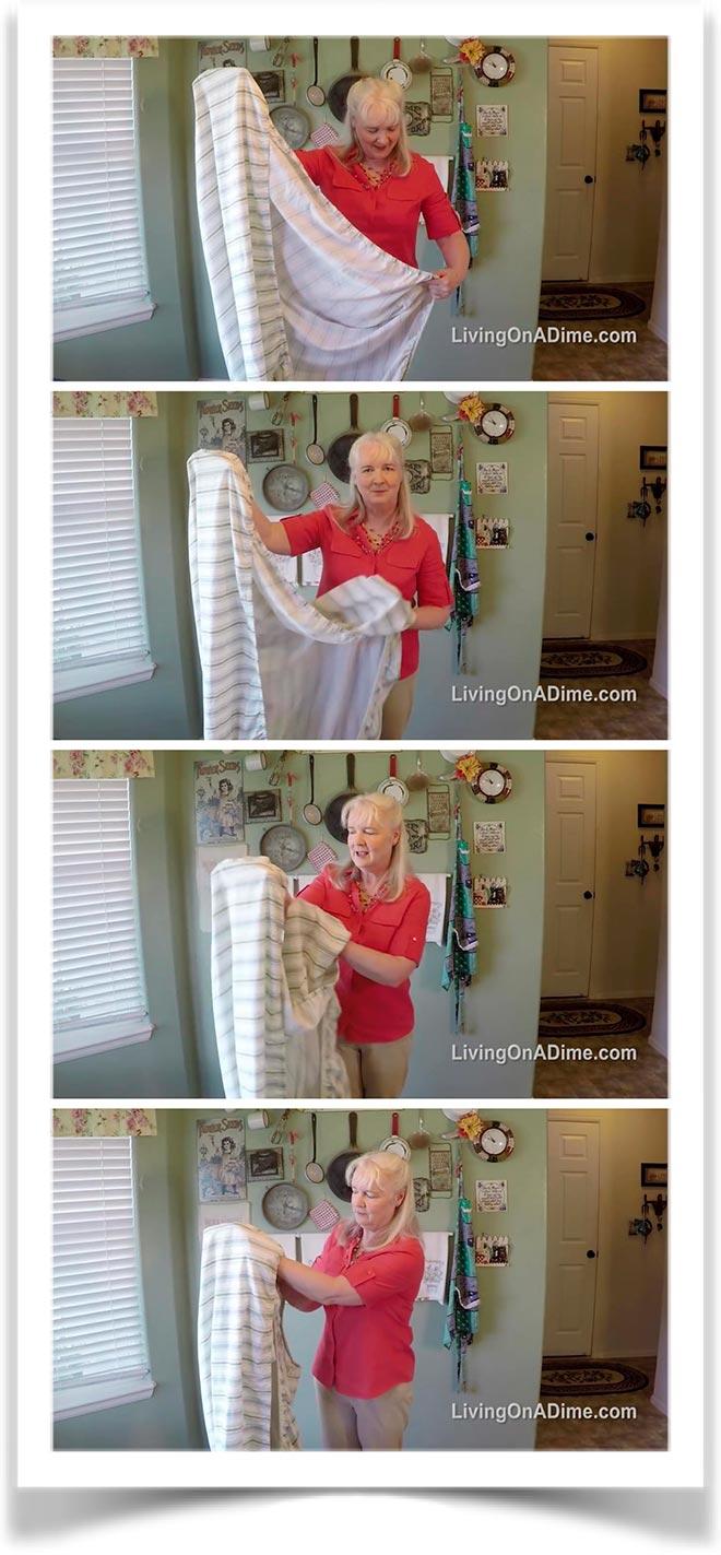 Первый способ как сложить простынь на резинке 4