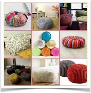 Геометрически разные напольные подушки