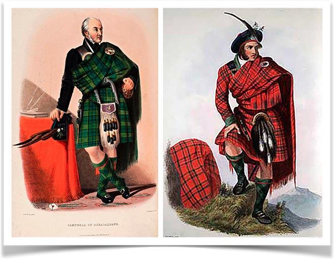 Знатные горцы Шотландии в национальных одеждах