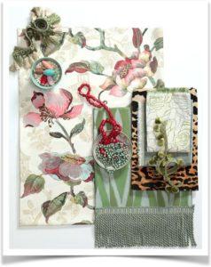 Ткань в цветочек бусы нитки декор