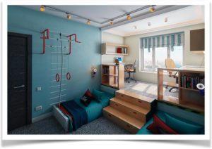Две кровати и подиум в детской