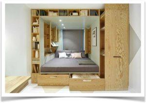 Функциональный подиум под матрас с выдвижными механизмами и шкафами