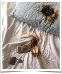Сгоревший телефон под подушкой