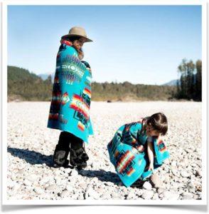 Мама с дочкой гуляют на природе укрывшись одеялом