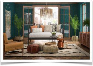 Комната в восточном стиле с пальмами