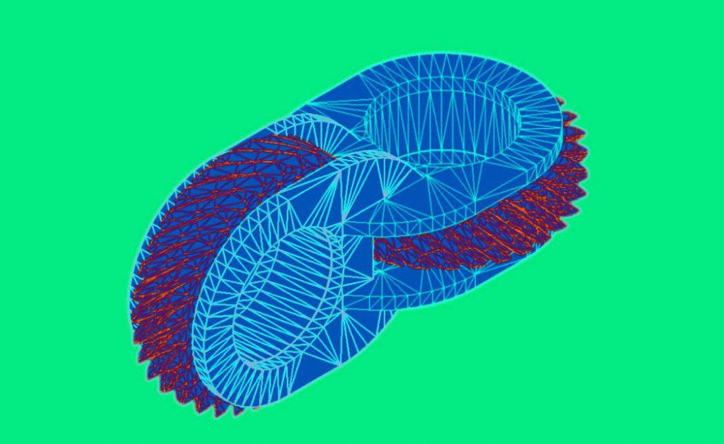 Каркас модели косозубых шестеренок